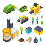 Garbage Isometric Icon Set. Isometric icon set of different elements of garbage collecting sorting and recycling system  vector illustration Stock Image