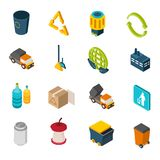 Garbage Isometric Icons. Set with trash can recycling symbol and truck isolated vector illustration Stock Images