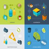 Garbage Isometric Set. Garbage design concept set with scavengery clean and green waste recycling isometric icons isolated vector illustration Stock Photos
