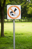 Garbage label sign. Don't allow throw away a garbage label sign Royalty Free Stock Photography
