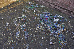 Garbage in lake Royalty Free Stock Photo
