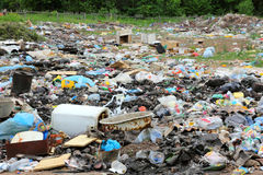 Garbage in landfill Stock Image