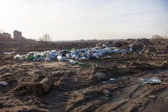 Garbage on the landfill near the city Royalty Free Stock Photo