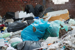 Garbage in landfill. Pile of domestic garbage in landfill royalty free stock images