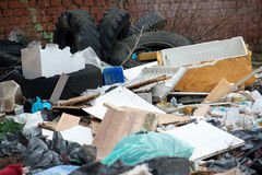 Garbage in landfill. Pile of domestic garbage in landfill stock photo