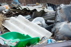 Garbage in landfill. Pile of domestic garbage in landfill royalty free stock photos