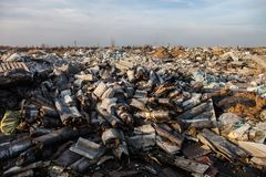 Garbage on the landfill Stock Images