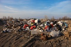 Garbage on the landfill Royalty Free Stock Photo