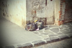 Garbage left on the street Stock Photography