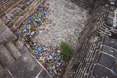 Garbage left by tourists on China Great Wall Royalty Free Stock Image