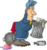 Garbage Man. This illustration that I created depicts a man in coveralls picking up garbage cans Stock Image