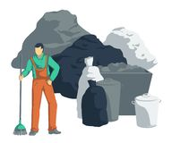 Garbage man clean up pile of trash. Bags, cans, bins, containers of waste. Isolated objects on white background. Vector illustration royalty free illustration