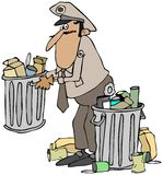 Garbage man. This illustration depicts an old time garbage man in uniform picking up a can of trash Royalty Free Stock Photo
