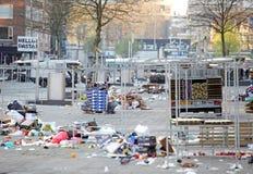Garbage at marketplace, Rotterdam - Netherlands stock image