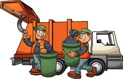 Garbage men picking up trash. Cartoon garbage men with truck, picking up trash. Vector clip art illustration with simple gradients. Some elements on separate stock illustration