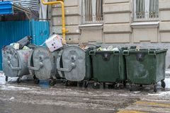 Garbage in metal containers royalty free stock photo