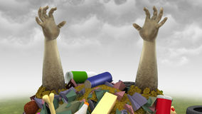 Garbage Monster, 3d illustration. Computer-generated image on the environmental pollution theme Royalty Free Stock Image