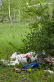 Garbage in nature. Glade site with heap of garbage Stock Photos