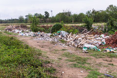 Garbage near road countryside in asia Stock Images