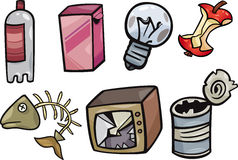 Garbage objects cartoon illustration set Royalty Free Stock Photo
