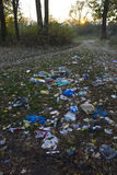 Garbage in park Royalty Free Stock Photos