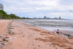 Garbage on the pattaya beach thailand Royalty Free Stock Images