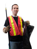 Garbage Picker. Is cleaning up the streets with a poking stick and a bag, isolated against a white background Royalty Free Stock Images