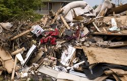 Garbage Pile from Tornado Damage Royalty Free Stock Photo