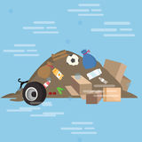 Garbage pile waste product dirty vector cartoon illustration junk yard Royalty Free Stock Photos