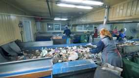 Garbage plant with workers. People work at a plant, sorting litter on conveyors. stock footage
