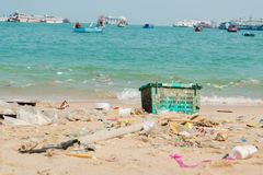 Garbage and plastic bottles on the beach Stock Image