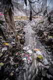 Garbage/Pollution China. Pollution, garbage, and running sewage on the bank of major a river.  Huai River Basin, Henan Province, China Stock Photos