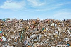 Garbage pollution in India. Pile of domestic garbage in landfill in India Stock Image