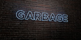 GARBAGE -Realistic Neon Sign on Brick Wall background - 3D rendered royalty free stock image Royalty Free Stock Photography