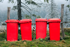 Garbage recipients. In Cozia National Park, Romania Royalty Free Stock Images