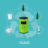 Garbage recycle concept vector illustration in flat style.  Royalty Free Stock Images