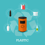 Garbage recycle concept vector illustration in flat style. Royalty Free Stock Image
