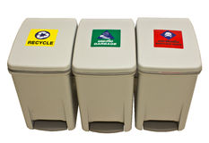 Garbage, recycle, infect waste bins. White background Royalty Free Stock Photo