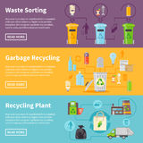 Garbage Recycling Banners Set Royalty Free Stock Images