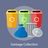 Garbage and Recycling Cans Collection. Concept. Concept in flat design style. Can be used for web banners, marketing and promotional materials, presentation Stock Photography