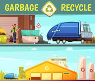 Garbage Recycling Company 2 Cartoon Banners. Garbage recycling green  eco friendly service symbol and processing facilities 2 cartoon style banners  vector Stock Photos
