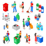 Garbage Recycling Elements Set. Garbage and plastic recycling isolated images set with isometric rubbish containers trash bins and people characters vector Royalty Free Stock Image