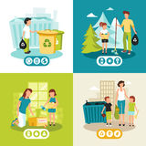 Garbage Recycling 4 Flat Icons Square. Batteries plastic and domestic waste collection for recycling concept 4 flat icons square abstract isolated vector Stock Images