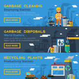 Garbage Recycling Horizontal Banners Set Royalty Free Stock Photos