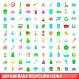 100 garbage recycling icons set, cartoon style. 100 garbage recycling icons set in cartoon style for any design vector illustration royalty free illustration