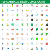 100 garbage recycling icons set, cartoon style. 100 garbage recycling icons set in cartoon style for any design vector illustration Royalty Free Stock Photography