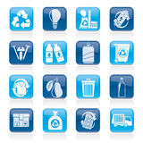 Garbage and Recycling Icons Stock Image