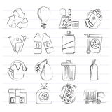 Garbage and Recycling Icons Royalty Free Stock Photos