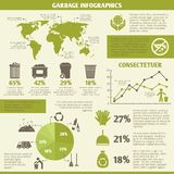 Garbage recycling infographic. Elements set with icons and charts vector illustration Stock Images