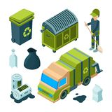Garbage recycling isometric. City cleaning service truck urban incinerator utility bin with waste vector 3d collection. Illustration of trash and waste stock illustration